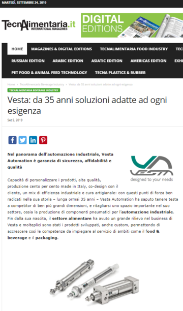 Vesta: 35 years of solutions suitable for any requirement